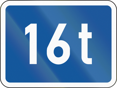 tonnes: Road sign used in the African country of Botswana - The primary sign applies to vehicles exceeding 16 tonnes.