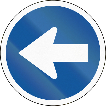 turn left sign: Road sign used in the African country of Botswana - Turn left.
