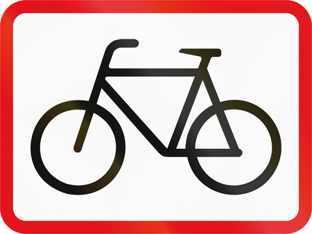 auxiliary: Road sign used in the African country of Botswana - The primary sign applies to cyclists. Stock Photo