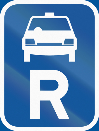r transportation: Road sign used in the African country of Botswana - Reservation for taxis.