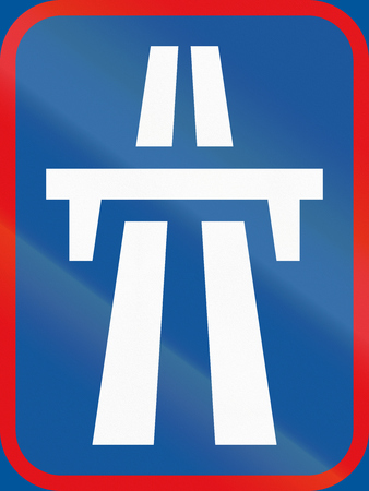 Road sign used in the African country of Botswana - Dual-carriageway freeway begins.