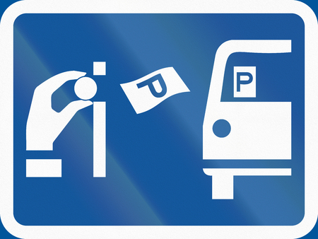 auxiliary: Road sign used in the African country of Botswana - Pay and display parking.
