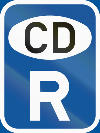 cd r: Road sign used in the African country of Botswana - Reservation for diplomatic vehicles. Stock Photo