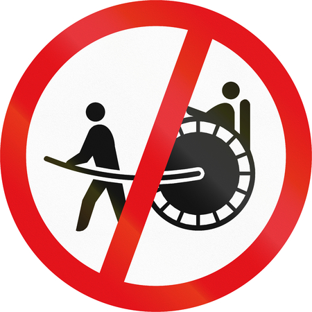 Road sign used in the African country of Botswana - Rickshaws prohibited.