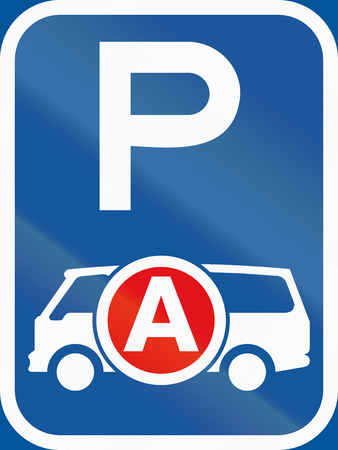 ambulances: Road sign used in the African country of Botswana - Parking for ambulances  emergency vehicles.