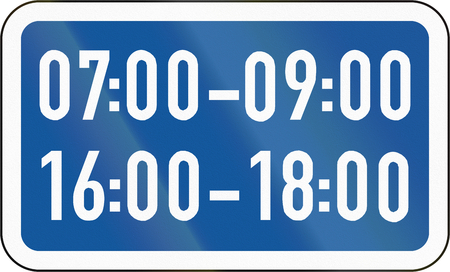 Road sign used in the African country of Botswana - The primary sign applies during the specified hours.