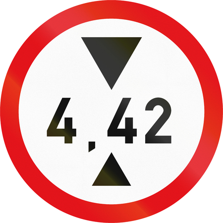 exceeding: Road sign used in the African country of Botswana - Vehicles exceeding 4.42 metres in height prohibited. Stock Photo
