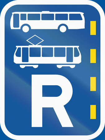 r transportation: Road sign used in the African country of Botswana - Reserved lane for buses and trams. Stock Photo