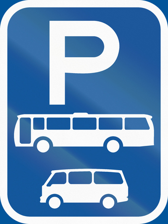 bus parking: Road sign used in the African country of Botswana - Parking for buses and mini-buses. Stock Photo