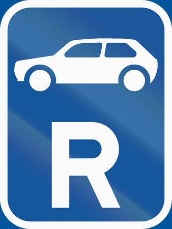 r regulation: Road sign used in the African country of Botswana - Reservation for motorcars. Stock Photo