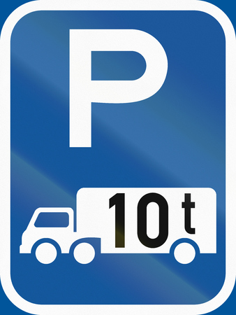 tonnes: Road sign used in the African country of Botswana - Parking for goods vehicles exceeding 10 tonnes GVM.