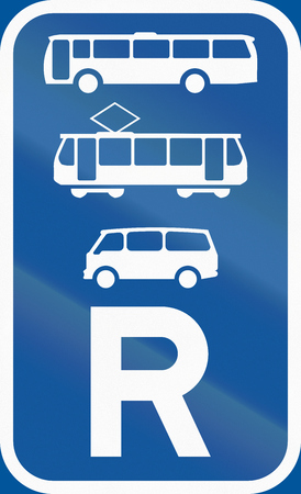 reservation: Road sign used in the African country of Botswana - Reservation for buses, trams and mini-buses. Stock Photo