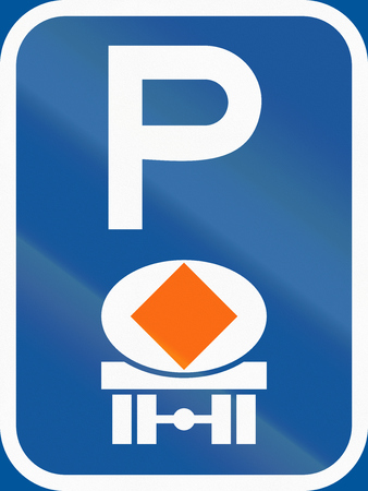 substances: Road sign used in the African country of Botswana - Parking for vehicles transporting dangerous substances. Stock Photo