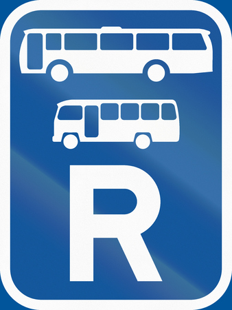 r transportation: Road sign used in the African country of Botswana - Reservation for buses and midi-buses. Stock Photo