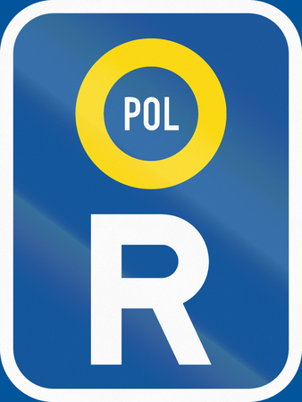 botswana: Road sign used in the African country of Botswana - Reservation for police vehicles. Stock Photo