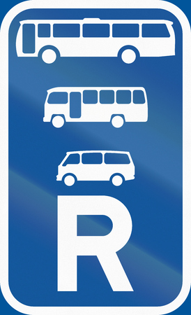 reservation: Road sign used in the African country of Botswana - Reservation for buses, midi-buses and mini-buses.