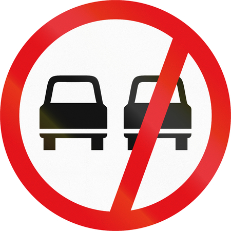 overtaking: Road sign used in the African country of Botswana - Overtaking prohibited. Stock Photo