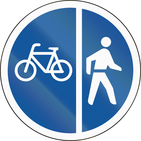pedestrians: Road sign used in the African country of Botswana - Cyclists and pedestrians only. Stock Photo