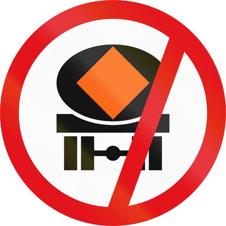substances: Road sign used in the African country of Botswana - Vehicles transporting dangerous substances prohibited. Stock Photo