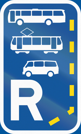 r regulation: Road sign used in the African country of Botswana - Start of a reserved lane for buses, trams and mini-buses.