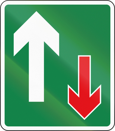 required: Road sign used in the African country of Botswana - Oncoming traffic is required to give way.
