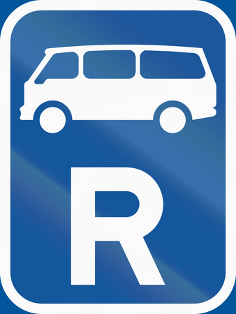 r transportation: Road sign used in the African country of Botswana - Reservation for mini-buses.