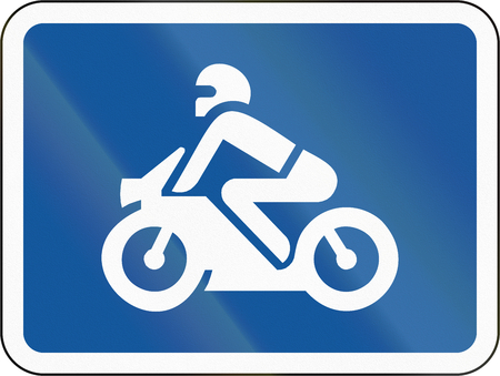 Road sign used in the African country of Botswana - The primary sign applies to motorcycles. Banco de Imagens