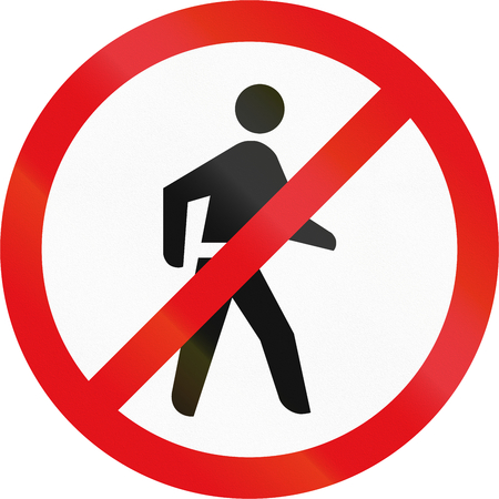 Road sign used in the African country of Botswana - Pedestrians prohibited. Stock Photo