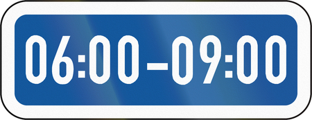 span: Road sign used in the African country of Botswana - The primary sign applies during the specified hours.