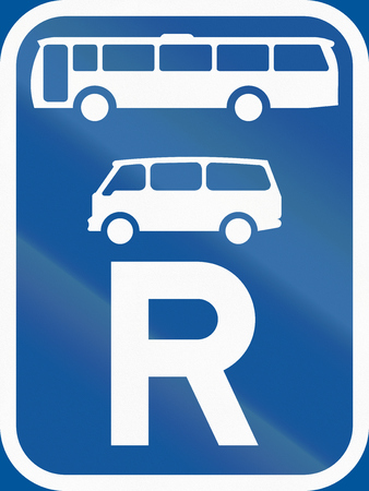 r transportation: Road sign used in the African country of Botswana - Reservation for buses and mini-buses.