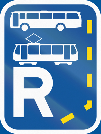 r regulation: Road sign used in the African country of Botswana - Start of a reserved lane for buses and trams.