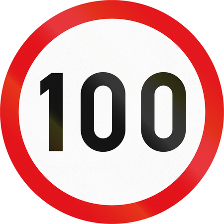 Road sign used in the African country of Botswana - Speed limit. Stock Photo