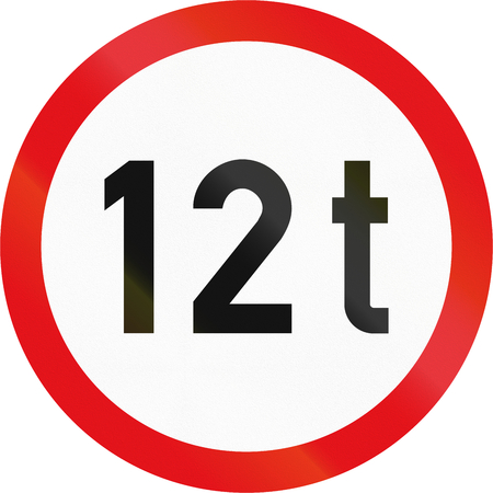 number twelve: Road sign used in the African country of Botswana - Vehicles exceeding 12 tonnes prohibited.