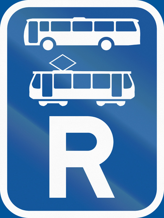 r regulation: Road sign used in the African country of Botswana - Reservation for buses and trams.
