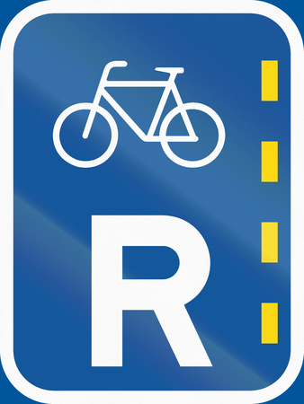 r regulation: Road sign used in the African country of Botswana - Reserved lane of bicycles. Stock Photo