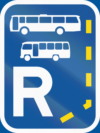r transportation: Road sign used in the African country of Botswana - Start of a reserved lane for buses and midi-buses.