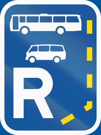 r transportation: Road sign used in the African country of Botswana - Start of a reserved lane for buses and mini-buses.