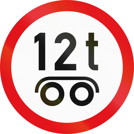 axle: Road sign used in the African country of Botswana - Vehicles exceeding 12 tonnes on a tandem axle prohibited.