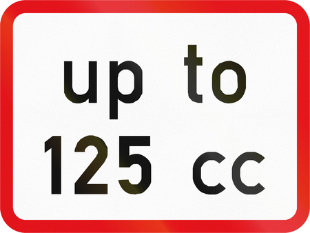 cc: Road sign used in the African country of Botswana - The primary sign applies to motorcycles with an engine size up to 125 cc.