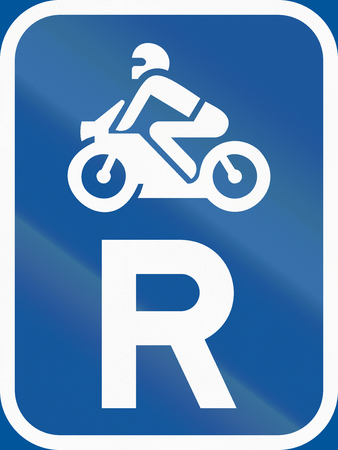 botswana: Road sign used in the African country of Botswana - Reservation for motorcycles. Stock Photo
