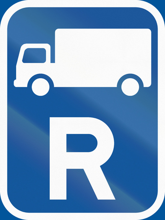 r regulation: Road sign used in the African country of Botswana - Reservation for goods vehicles. Stock Photo