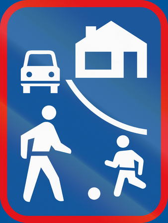residential zone: Road sign used in the African country of Botswana - Living street begins.