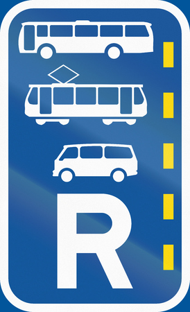 r transportation: Road sign used in the African country of Botswana - Reserved lane for buses, trams and mini-buses. Stock Photo