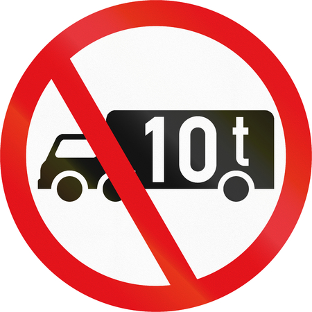exceeding: Road sign used in the African country of Botswana - Goods vehicles exceeding 10 tonnes prohibited.