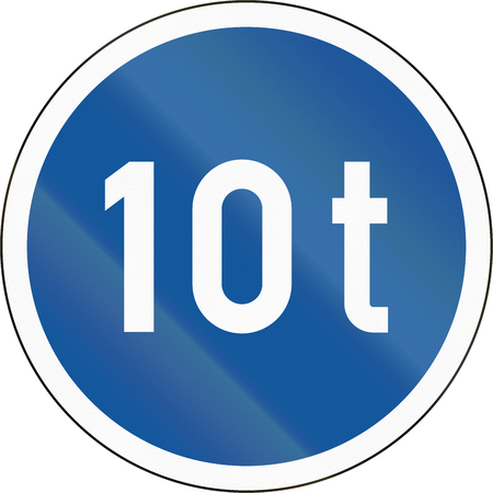 tonnes: Road sign used in the African country of Botswana - Vehicles exceeding 10 tonnes only.