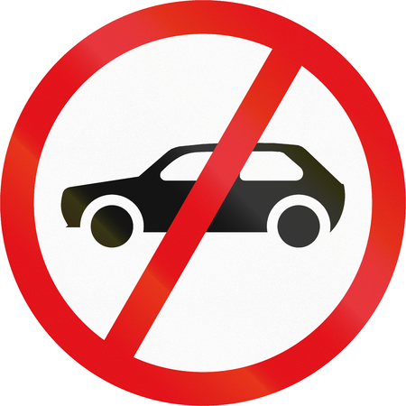 motorcars: Road sign used in the African country of Botswana - Motorcars prohibited. Stock Photo