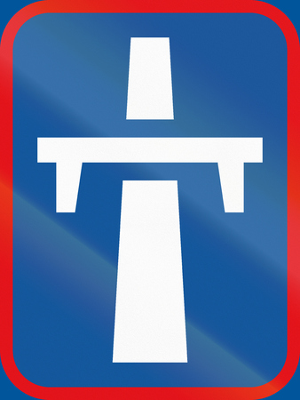 single lane road: Road sign used in the African country of Botswana - Single-carriageway freeway begins. Stock Photo
