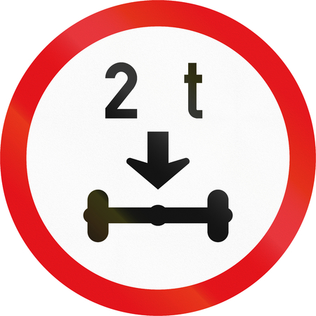 axle: Road sign used in the African country of Botswana - Vehicles exceeding 2 tonnes on a single axle prohibited. Stock Photo
