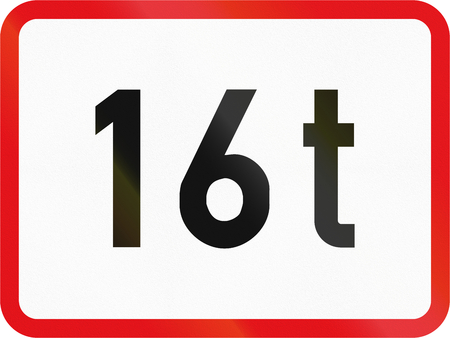 tonnes: Road sign used in the African country of Botswana - The primary sign applies to vehicles exceeding 16 tonnes GVM. Stock Photo