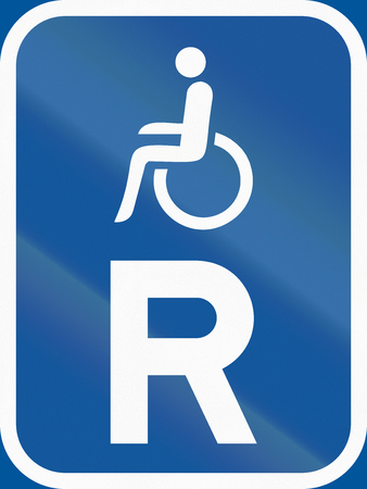 reservation: Road sign used in the African country of Botswana - Reservation for vehicles carrying disabled passengers. Stock Photo